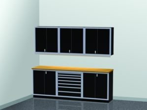 9' Wide ProII™ SERIES Garage And Shop Aluminum Cabinet Combination #PGC009-02X