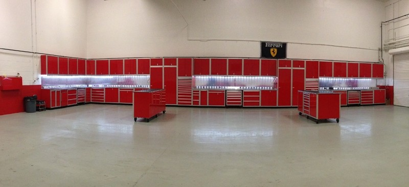 Red Moduline High End Cabinets In Ferrari Garage