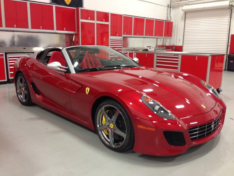 Red Moduline Garage Wall Storage Systems And Red Ferrari