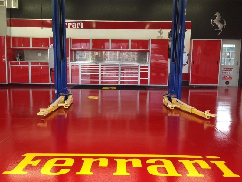 Red Moduline Aluminum Workbench Cabinets In Ferrari Garage