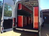 Van with Moduline Aluminum Vehicle Cabinets