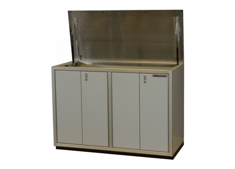 Custom Aluminum Cabinet With Recycle Bins