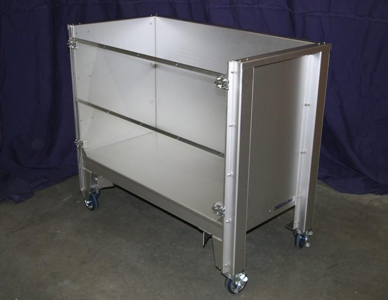 Hospital Transport Cart Aluminum With Plexiglass Doors