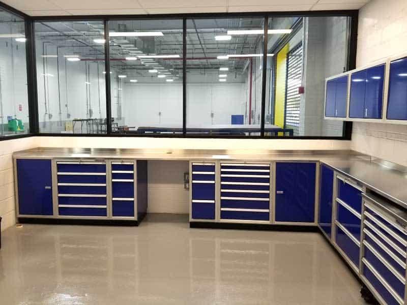 Moduline Blue Aluminum Garage Storage Cabinets In DOT Garage