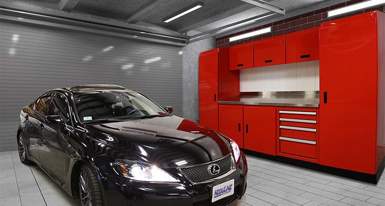 Red Garage Wall Cabinet Storage System