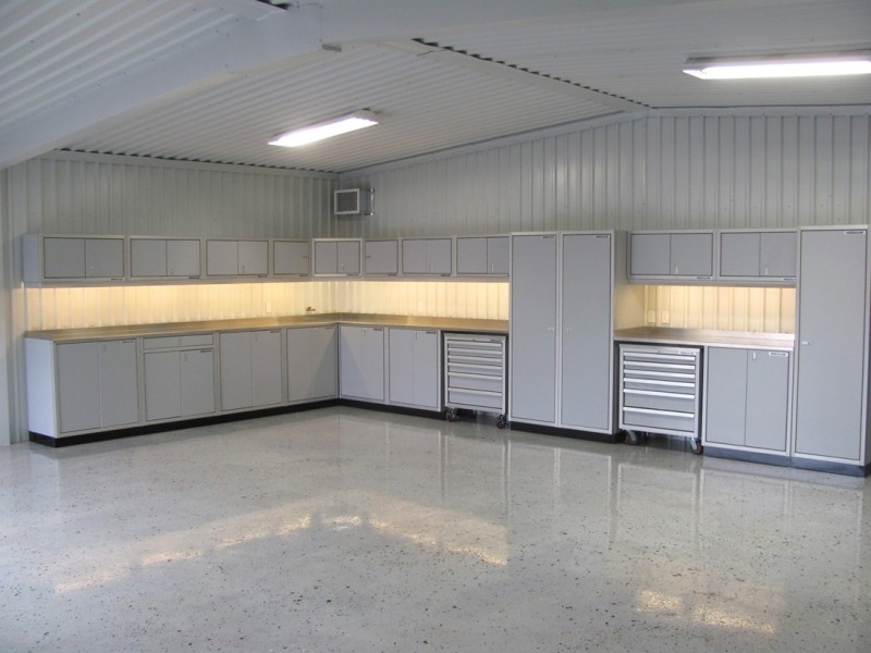 light gray aluminum garage storage cabinets by moduline
