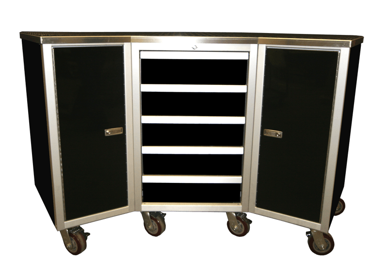 Wheeled Aluminum Cabinet With Drawers And Countertop