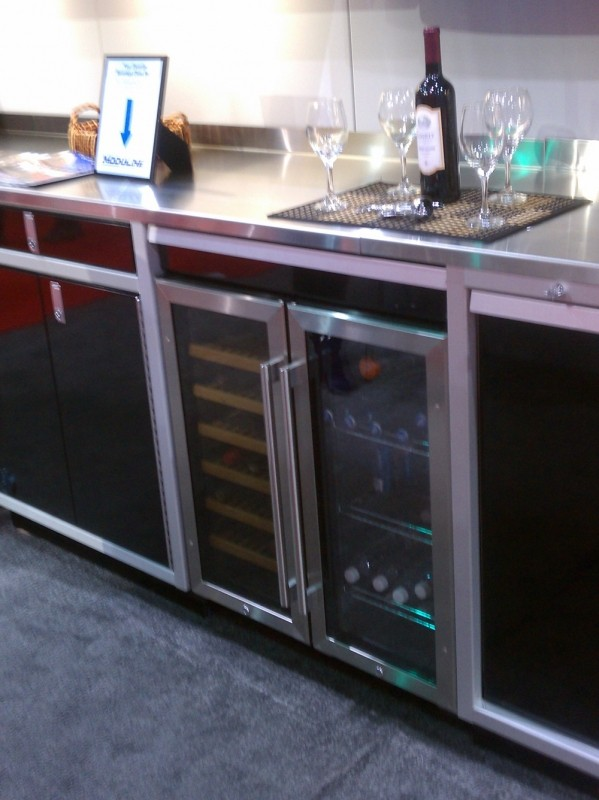 Aluminum Cabinets With Refrigerator And Wine Cooler