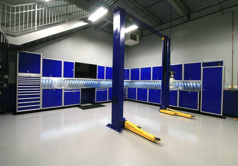 Blue garage cabinets 28 images gallery of garage shop for Furniture 4 less muscle shoals al