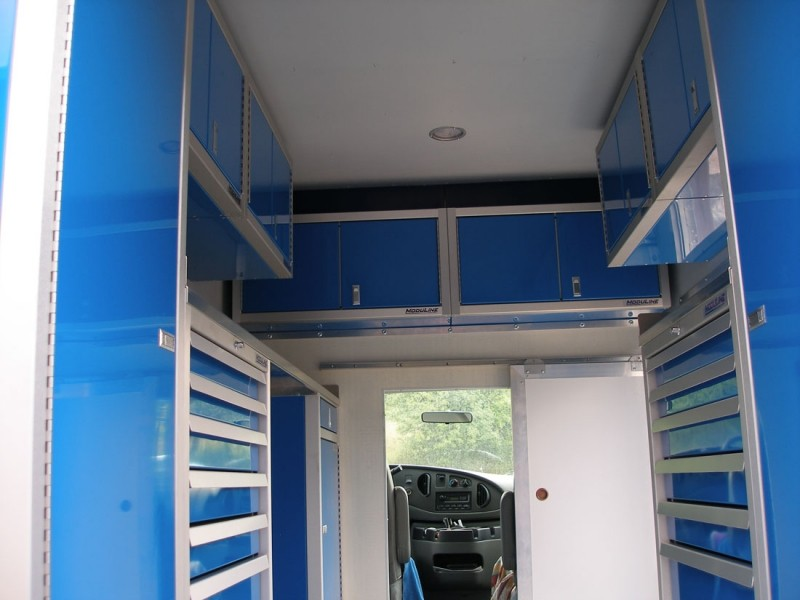 Lightweight Blue Aluminum Cabinets In Specialty Vehicle
