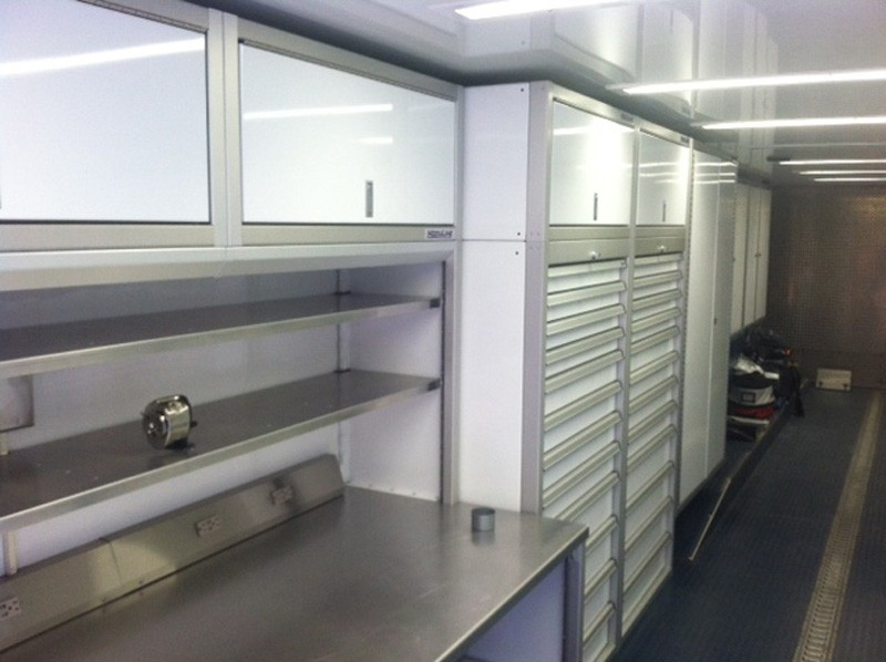 PROII™ Aluminum Cabinets And Desk In Trailer
