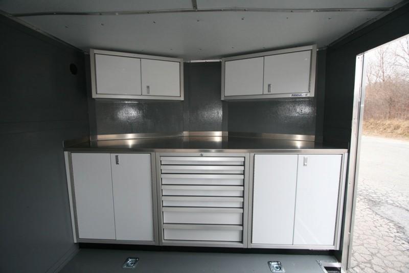 Moduline PROII™ Aluminum Cabinets In A V Nose Trailer 4
