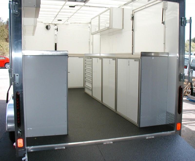 Moduline PROII™ Aluminum Cabinets In A V Nose Trailer