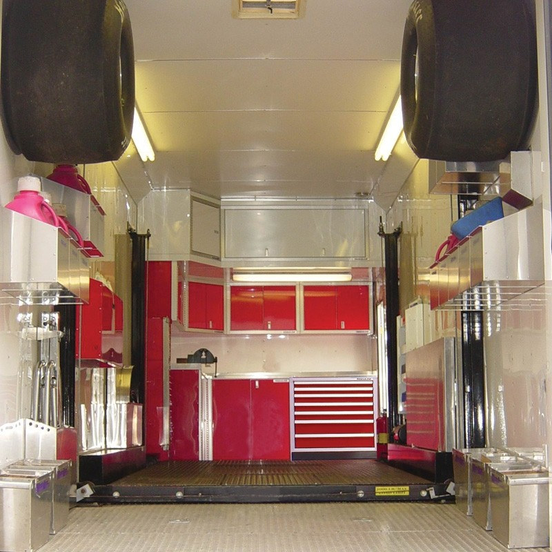 Moduline Red Aluminum Cabinets In A Drag Racing Trailer