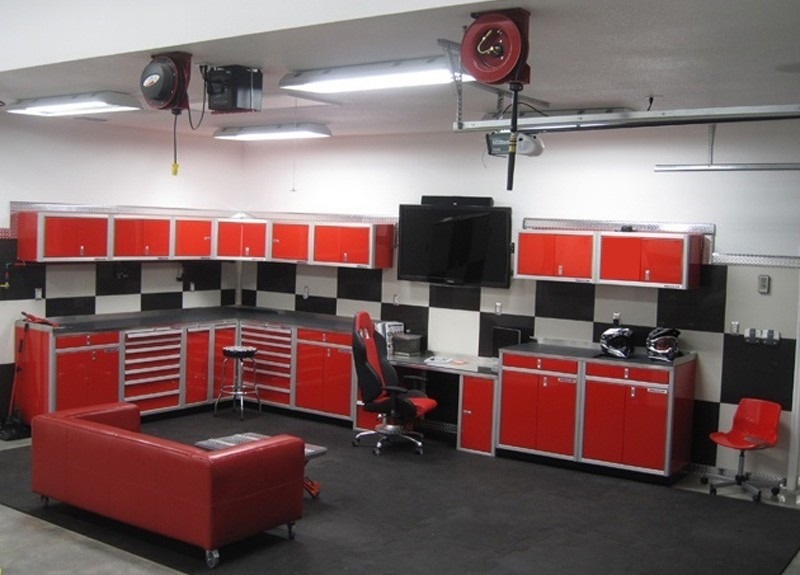 Moduline Red Aluminum Garage Storage Cabinets And Cord Hose Reels
