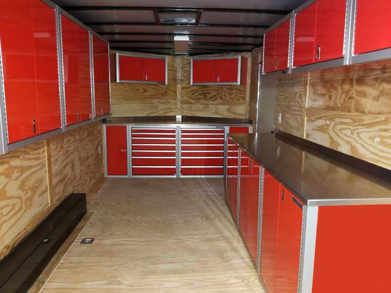 Moduline PROII™ Red Aluminum Cabinets In V-nose Trailer