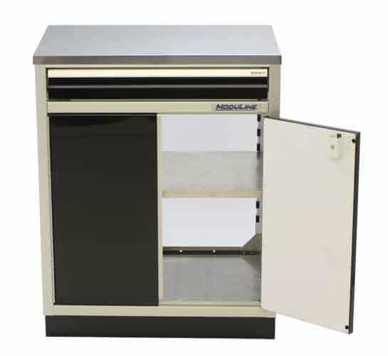 Open Aluminum Base Cabinet With Top Drawer