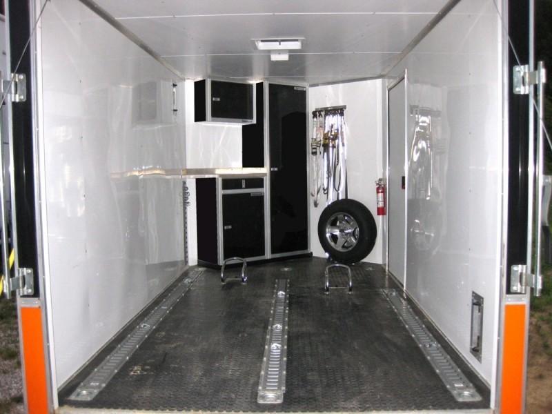 Moduline Signature Black Lightweight Aluminum Cabinets In A V Nose Trailer