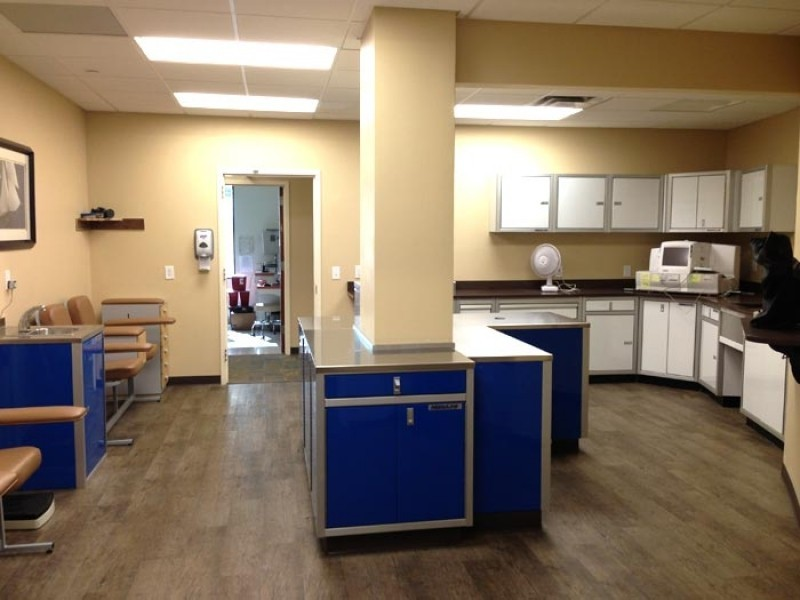 Beau Moduline White And Blue Aluminum Storage Cabinets In A Medical Office