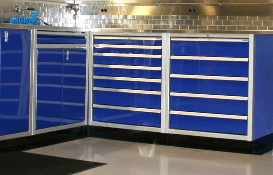 Moduline Blue Drawer Cabinets For Garage