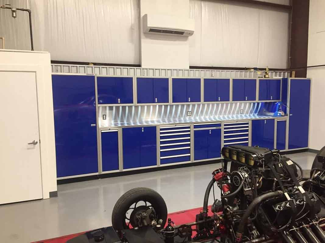 Moduline Blue ProII™ Cabinets In Race Shop