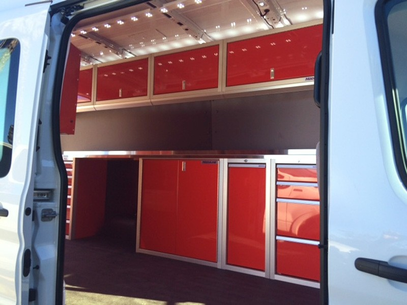 Van With Red Moduline PROII™ Lightweight Cabinets