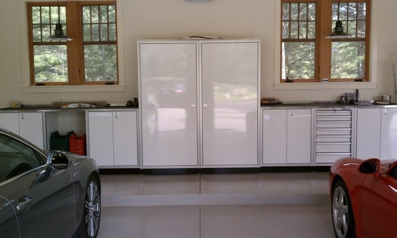 White Moduline Aluminum Garage Storage Cabinets