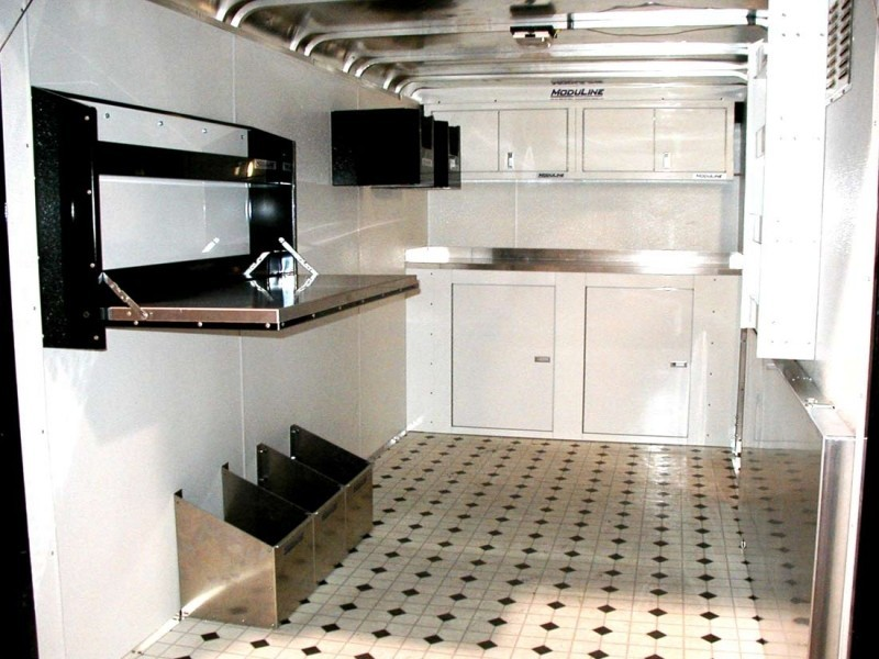 Amazing White Moduline Lightweight Aluminum Cabinets And Folding Workstation In  Trailer