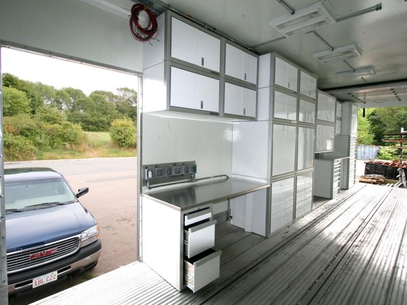 White Moduline Lightweight Aluminum Trailer Cabinets