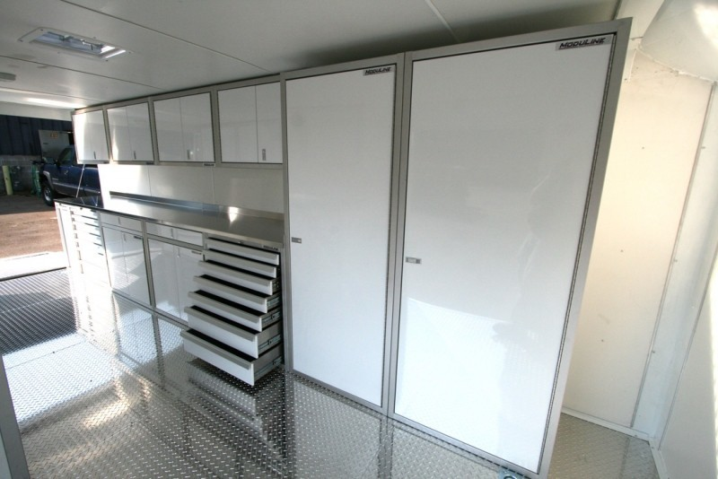 White Moduline Lightweight PROII™ Aluminum Cabinets Closets And Tool Chest In A Trailer