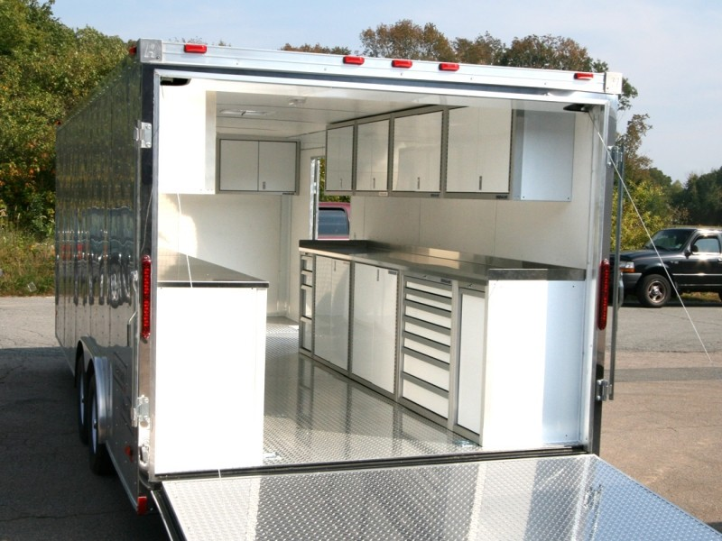 White Moduline Lightweight PROII™ Aluminum Cabinets And Countertop In A Trailer