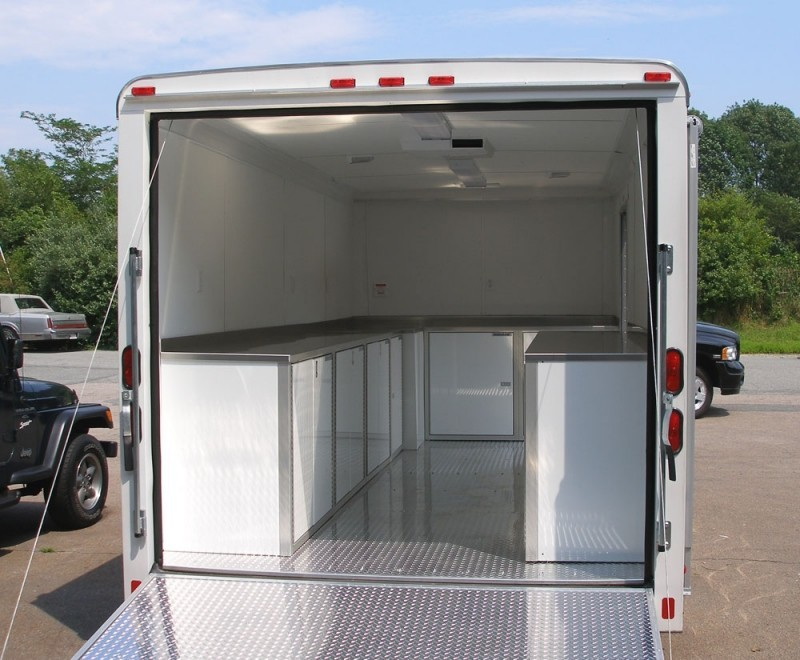 White Moduline Lightweight PROII™ Aluminum Cabinets In A V Nose Trailer