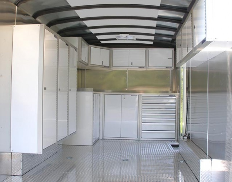 White Lightweight Aluminum Cabinets In V-Nose Trailer