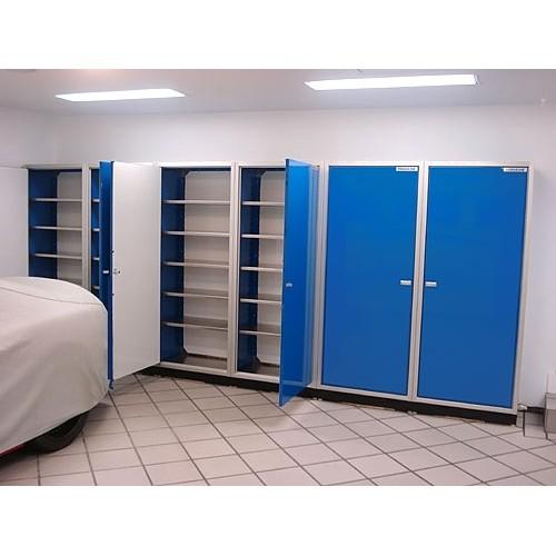 Blue Garage Closets Open