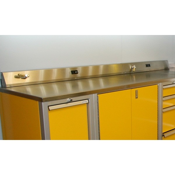 Workshop Countertop Materials : Stainless Steel Countertop For Cabinets With Power Grid