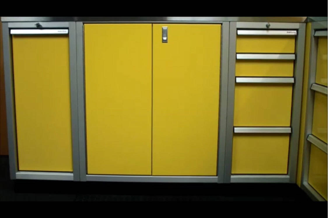 Yellow Base Aluminum Cabinets For Garage Video
