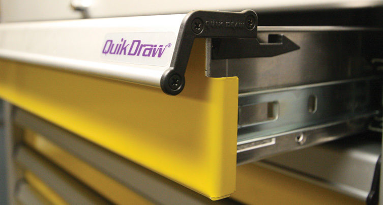 QuikDraw® Latch System For Metal Cabinet Storage