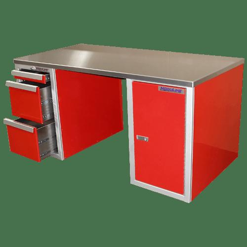 Red Aluminum Desk For Garage And Shop