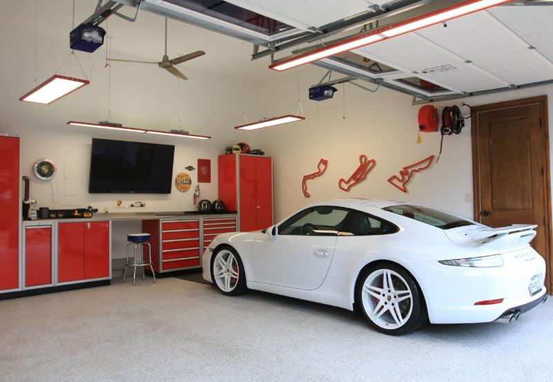Red Moduline PROII™ Garage Cabinets White Porsche