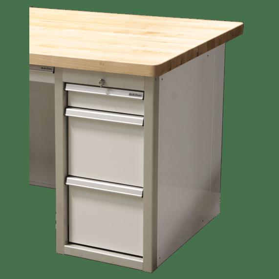 Aluminum File Cabinet Desk With Butcher Block