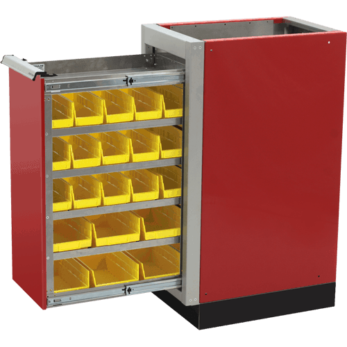 ProII™ SERIES Trailer Aluminum Parts Bin Cabinets Featuring QuikDraw® Single Action Latch System