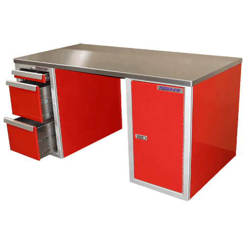 Aluminum Desk With 3-Drawer Cabinets For Garage