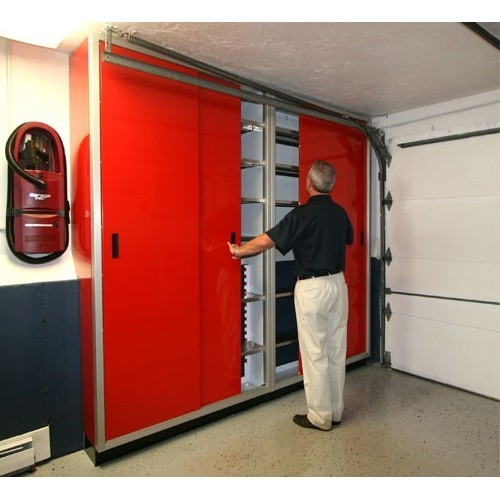 Great Red Space Saver Closets In Garage
