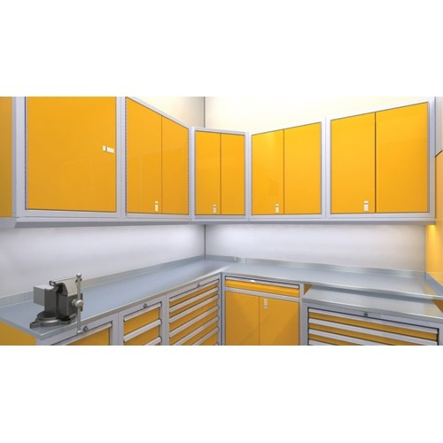 Yellow Wall Cabinets Above Workbench