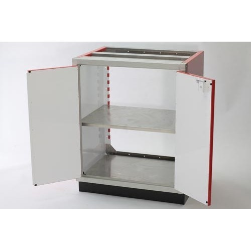 Adjustable Aluminum PROII™ Storage Shelves In Base Cabinet