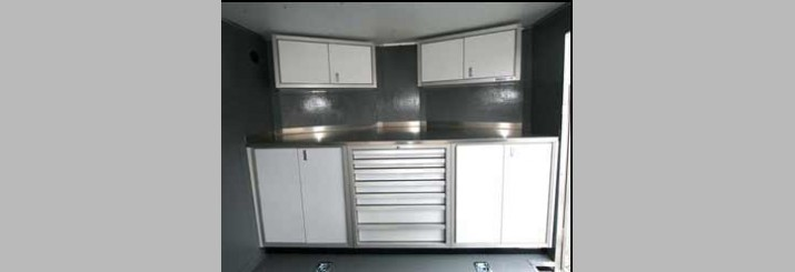 cabinets for enclosed trailers enclosed trailer cabinets work well in small spaces 13121