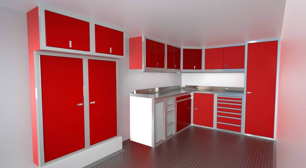 Trailer Cabinets with Stainless Steel or Aluminum Countertops