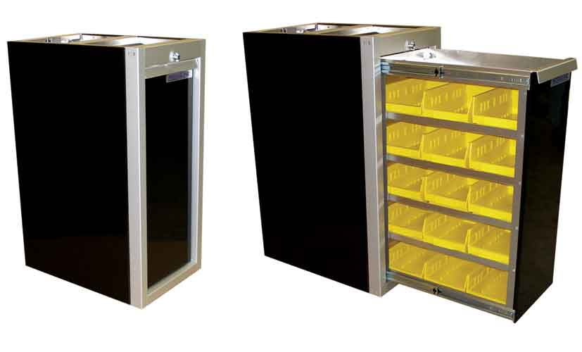 Aluminum Parts Bin Cabinet Open And Closed