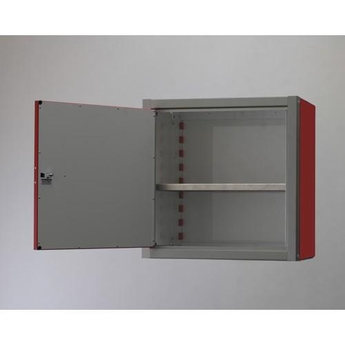 "Single Door Aluminum Wall Storage Cabinet 18"" Tall Open"