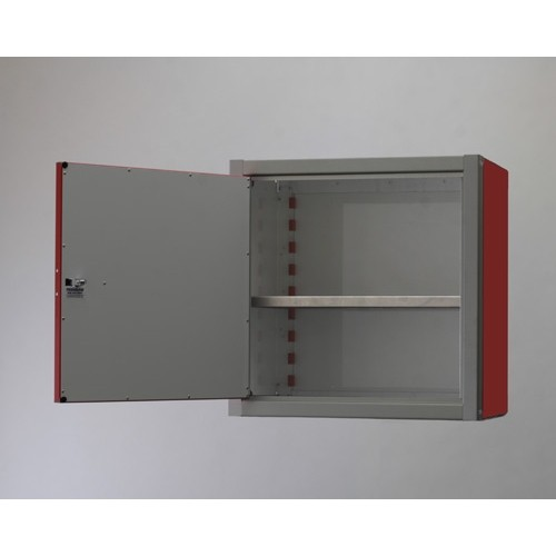 "Double Door Aluminum Wall Storage Cabinet 18"" Tall Open"